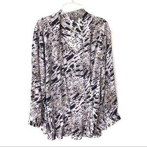 Vince Camuto Swirl Tie Neck Blouse Taupe Black 3X